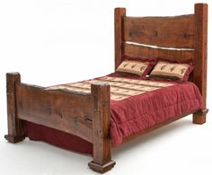 Barnwood Bed with Natural Wood