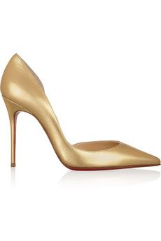 Loving the Christian Louboutin 'Iriza' metallic gold pumps with cut-out sides $659, get it here: http://rstyle.me/~1ewRR