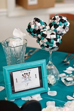 At Home Disney Wedding - Mickey Ribbon Topiary Centerpieces