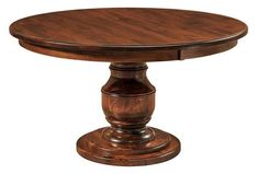 Amish Burlington Single Pedestal Table A top seller, the Burlington offers an exquisite look. Sculpted from solid wood in Amish country, this is a table that will last for generations. Custom made in choice of wood, stain and more. #customfurniture
