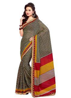 Brown Printed Tussar Silk Saree