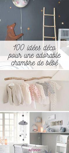 Déco, accessoire, peinture, tapis, lit, luminaire, lampes, penderie, mobiles...découvrez plus de 100 idées de décoration pour une chambre de bébé ou d'enfant trop trop jolie.