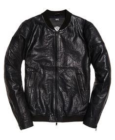 Superdry Washed Leather Bomberjacka  Svart
