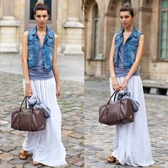 #stealthelook #look #looks #streetstyle #streetchic #moda #fashion #style #estilo #inspiration #inspired #bolsa #bau #colete #jeans #saia #Longa #branco