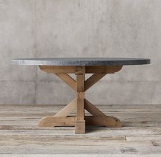 RH's Salvaged Wood & Marble X-Base Round Dining Table:Our table from designer Timothy Oulton pairs a richly veined marble top with the natural beauty of solid salvaged pine timbers from old European buildings.SHOP THE ENTIRE COLLECTION & Solid Oak Dining Table, Oval Table, Dining Room Table, Round Tables, Dining Area, Small Dining, Outdoor Dining, Fine Dining, Calgary