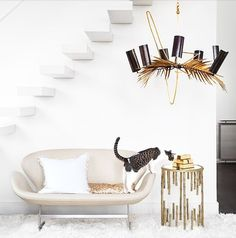 Metallic Chandelier | Metallic Side Table | White Living Room