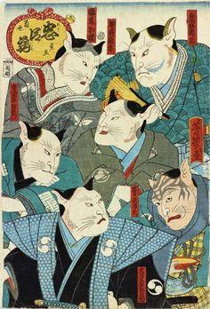 Chūshingura - Samurai cats   ukiyō-e woodblock print, 1860    Utagawa Yoshiiku
