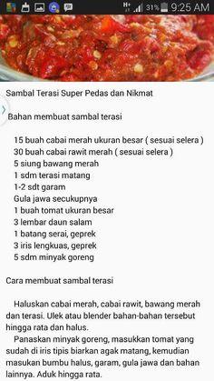 sambal terasi super pedas dan nikmat Indonesian Sambal Recipe, Indonesian Cuisine, Snacks To Make, Food To Make, Sauce Recipes, Cooking Recipes, Homemade Spices, Malaysian Food, Asian Cooking