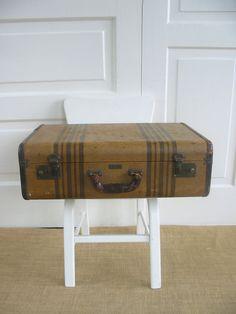 Vintage Suitcase Case Brown Striped Industrial by vintagejane on Etsy