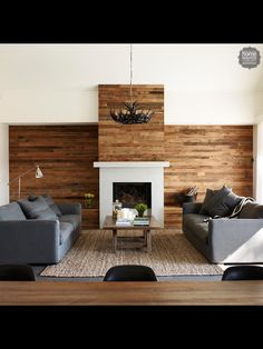 Wood panels on living room walls, above fireplace Fireplace Tv Wall, Living Room With Fireplace, Fireplace Surrounds, Fireplace Ideas, Living Area, Living Spaces, Living Rooms, Electric Fireplace, Wooden Walls