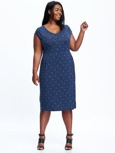 Sleeveless Jersey Plus-Size Sheath Dress