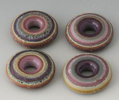 Rustic Tapestry Discs - (4) Handmade Lampwork Beads - Tumble Etched - Pink, Purple