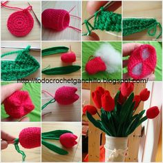 DIY Crochet Tulip Flower - 24 Crochet Home Decor Accessories For Your HomeHow to Crochet Beautiful Tulip Flower (Video) - Decor Tips 2019 Crochet Bouquet, Crochet Puff Flower, Crochet Flower Tutorial, Crochet Flower Patterns, Crochet Flowers, Crochet Gifts, Crochet Yarn, Crochet Toys, Diy Crochet Projects
