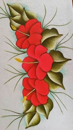 Pintura en tejido One Stroke Painting, Tole Painting, Fabric Painting, Embroidery Patterns, Hand Embroidery, Fabric Paint Designs, Illustration Blume, Painting Patterns, Flower Designs