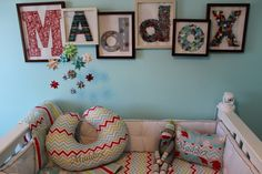Jules' room is done - but this is a creative idea for a name in the room. From Project Nursery blog