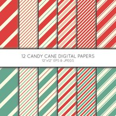 Christmas Digital Paper, Holiday Striped Scrapbook paper, digital paper pack, background, Vector Graphics, digital download, commercial use