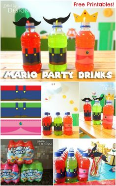 Super Mario Party Drinks with Free Printables! Adorable Super Mario party ideas - so many clever ideas for decorating, food and more!