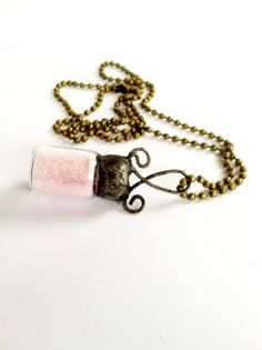 Pixie Dust Necklace, Fairy Dust Necklace, Pink Glitter Wish Necklace, Soldered Glass Vial Pendant, Gifts For Little Girls
