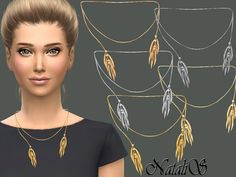 The Sims Resource: Thorn-like tassel necklace by NataliS • Sims 4 Downloads