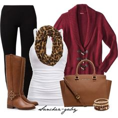 """Cardigan & Leopard Scarf"" by sanchez-gaby on Polyvore"