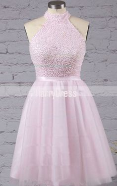 Pink A Line Mini High Neck Tulle Sleeveless Beading Short Homecoming Dress