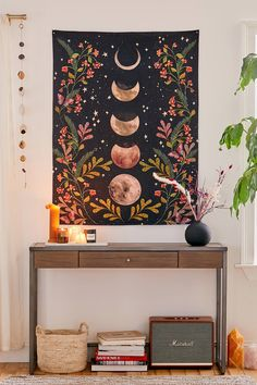 Like vines twisting into a moonlit sky this cotton tapestry features lunar phases surrounded by floral motifs. Available exclusively at UO. Content Care Cotton Machine wash Imported Size Dimensions 48 l x 36 w Meditation Space, Meditation Room Decor, Meditation Corner, Meditation Altar, Diy Décoration, Easy Diy, Aesthetic Rooms, Boho Aesthetic, Modern Decor