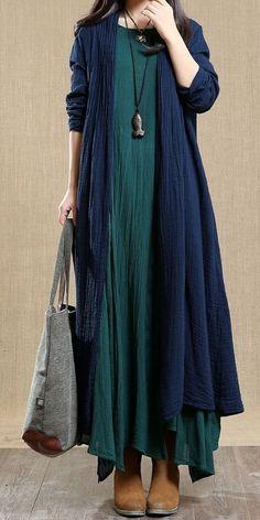 Vintage Cotton Linen Long Coat Women Casual Clothes 8025