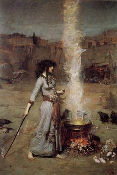 Waterhouse, Magic Circle  Sorceress with cauldron