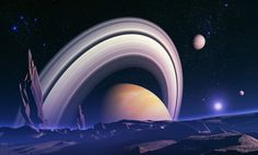 """Ancient giants space landscape"" by Dawid Michalczyk Science Fiction Art, Science Art, Fantasy Landscape, Landscape Art, Landscape Paintings, Italo Disco, Space Gallery, Alien Planet, Alien Worlds"