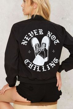 MNKR Never Not Chilling Graphic Jacket   Shop Clothes at Nasty Gal!