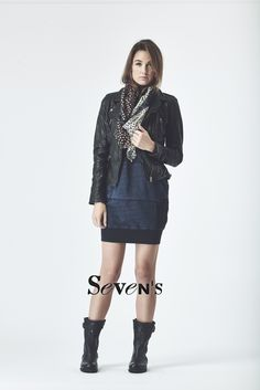 Perfecto cuir OAKWOOD - Robe DIESEL - Foulard I-Code - Bottines PALLADIUM   www.boutiques-sevens.com   #perfecto #cuir #oakwood #robe #jean #diesel #bottines #palladium #foulard #i-code #ikks #women #fashion #mode #winter15 #hiver15 #sevens