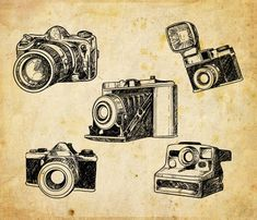 Hand Drawn Cameras Clip Art Cameras Clipart Digital by CorvusAttic Camera Clip Art, Camera Drawing, Clipart, Old Fashioned Camera, Free Adult Coloring, Dictionary Art, Vintage Cameras, Photography Logos, Digital Image