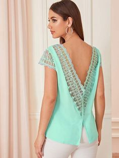 To find out about the Lace Panel Button Front Backless Top at SHEIN, part of our latest Blouses ready to shop online today! Pop Fashion, Fashion News, Backless Top, Neck Pattern, Lingerie Sleepwear, Lace Tops, Bellisima, Sleeve Styles, Clothes For Women