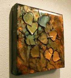 Carol Nelson FINE ART BLOG: Pond Series 15, 1074, aspen leaf acrylic collage © Carol Nelson Fine Art