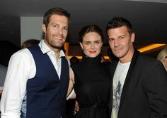 Bones stars Emily Deschanel and David Borenaz with Geoff Stults (Enlisted) at FOX TCA Party