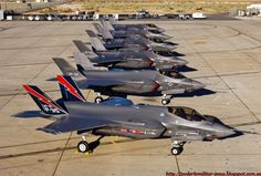 A lineup of new Lockheed-Martin Lightning II fighters. Air Force Bases, Us Air Force, F35 Lightning, Edwards Air Force Base, War Machine, Military Aircraft, Military Weapons, Fighter Jets, Pilot