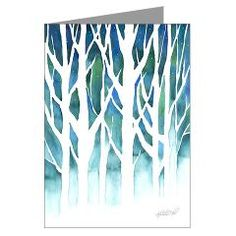 My original watercolor painting of winter trees silhouetted against a chilly, blue-green background, with snow and stars. A unique work of art for Yule, Winter Solstice, or Christmas - send a holiday card this year from an independent artist! :) http://www.artoffoxvox.com/cgi-bin/cpshop.cgi/holiday.artoffoxvox-414739336.-.4+winter-silhouette-greeting-cards-pk-of-20.html