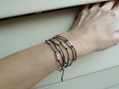 Beaded Wrap bracelet necklace hand knotted silver by knitjewels, $29.00