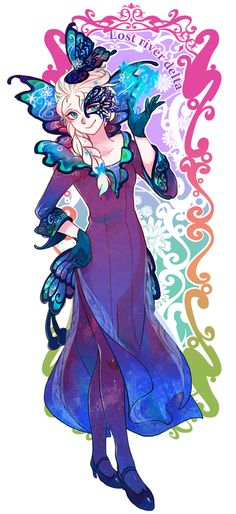 Elsa in a butterfly/snowflake dress/masquerade outfit!!