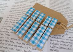 5 x small wooden clothes pegs blue gingham by KylieDunn on Etsy, £2.50