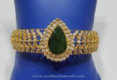 Gold Bangle with Green Stones, Gold Green Stone Bangle, Gold Jewellery Bangle Design with Green Stones.