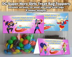 DC Super Hero Girls Inspired Treat Bag Toppers DC Super Hero Girls Treat Bag Topper DC Super Hero Girls Birthday Party Candy by instbirthday,…
