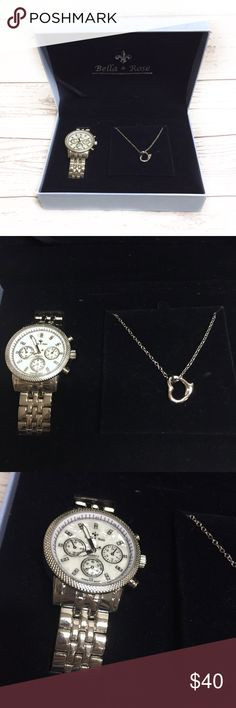Bella & Rose watch and necklace set Silver watch and necklace set. bella & rose Jewelry