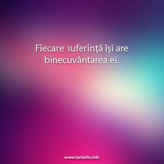 Fiecare suferinta isi are binecuvantarea ei... http://taniatita.info/newsletter - Tania Tita