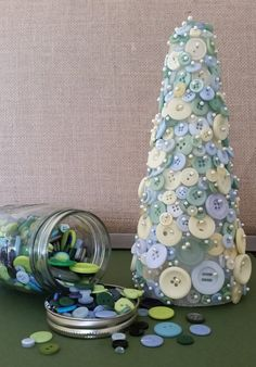 Pastel Button Tree Home Decor Nursery Decor by TheInspiredCrafter