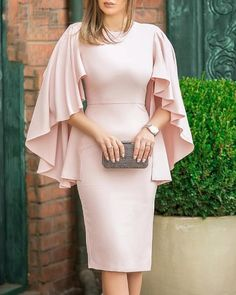 Solid Ruffles Design Bodycon Dress trendiest dresses for any occasions, special event dresses, accessories and women clothing. Simple Dresses, Elegant Dresses, Casual Dresses, Dresses For Work, Sexy Dresses, Summer Dresses, Pretty Dresses, Midi Dresses, Fall Dresses