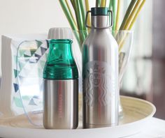 Korea Starbucks Summer Sunny silver water bottle SS Double Wall Siren Water Bott #Starbucks