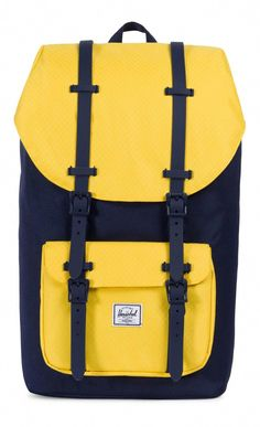 0a7cdfad907 Herschel Little America Backpack 600D Poly Peacoat Cyber Yellow Luxury  Handbags