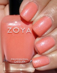 Zoya: Zahara- a delightful, shimmery cantaloupe shade, with more orange undertones than the photo. Decent wear time, but needs acetone for removal. Zoya Nail Polish, Nail Polish Colors, Colorful Nail Designs, Cute Nail Designs, Cute Nails, Pretty Nails, Diy Nails, Glitter Nails, Chrome Nail Art