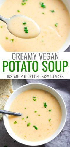 This vegan potato soup is super creamy and so easy to make! Ready in 20 minutes or less. (Instant Pot/ Stovetop Options) Easy Vegan Potato Soup jodocus K. FeLeeChe Fuudaa This vegan potato soup is super creamy and so easy t Vegan Potato Soup, Vegan Soups, Vegan Dishes, Vegan Food, Carrot Potato Soup, Creamy Potato Soup, Food Dishes, Whole Food Recipes, Soup Recipes